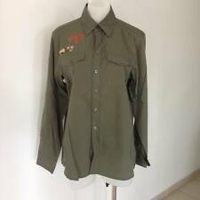 SALE JEANSWEST Mens Khaki Green Button Up Shirt with Patches S L