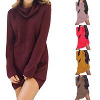 Womens Knit Cowl Neck Loose Long Sleeve Oversize Sweater er Shirt Tops Dress