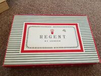 Vintage REGENT OF LONDON 4 Piece Dressing Table Set Embroidery Boxed mirror