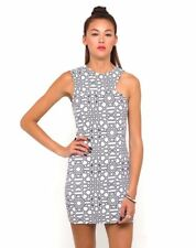 Motel Rocks Ameri Gorgeous Cut Out Dress in Geo Maze Print Bloggers Size L BNWT