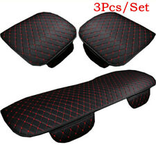 3Pcs Black& Red Car Seat Cover Cushions PU Leather For Interior Accessories