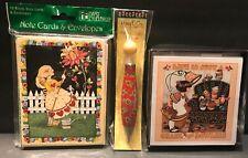 Lot Mary Engelbreit Note Cards & Pen - Vintage Hallmark Ink, Pooch & Sweetheart