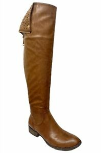 Lunar Ladies Womens Brown Leather Over Knee High Long Biker Zip Up Boots Size 6