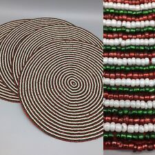"x4 Beaded Christmas Placemat Set Charger Peppermint Twist Candy 15"" Red Green"
