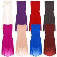 New Womens Asymmetric Uneven Dip Hem High Low Summer Solid Chiffon Beach Dress