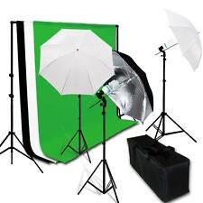 New Photo Studio Continuous Umbrella Lighting Kits Background Stand 3 Backdrops