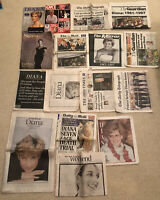 Large Bundle Of Rare 1997 Princess Diana Newspapers, Clippings And Magazines