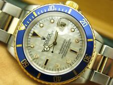 Rolex Submariner Date SS 18k Gold Pyramid MOP Diamond Sapphire Dial 16613 w/ Box