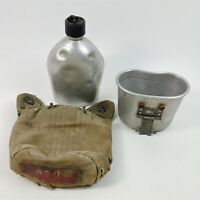 US Military Canteen W/ Cup & Cover - Brittle Cover Dented Canteen - Old