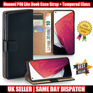 Huawei P40 Lite Leather Flip Wallet Book Case Strap + Tempered Glass Protector