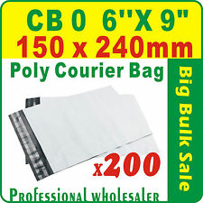 """200 x CB0 150X240mm(6''X9"""") Courier Bag Poly Mailer Satchel Free Postage"""