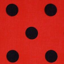 Tela Polycotton Negro Grande Punto Rojo Ladybird * Por Metro