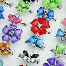 30pcs Crystal Resin Rhinestone Mix Flower Women Girls Rings Wholesale Jewelry
