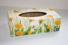 Tissue Box Cover Yellow Dandelion rectangular handmade in UK wooden