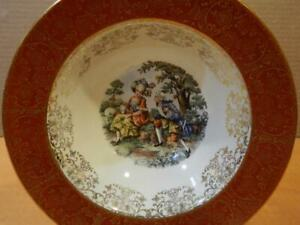 """Sebring Pottery """"Chantilly"""" Hand Decorated 8"""" Soup Bowl w/ Romantic Scene (B)"""
