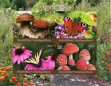Madagascar 2018 MNH Mushrooms & Butterflies 4v Impf M/S Fungi Nature Stamps