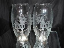 NOTRE DAME FIGHTING IRISH 2 ETCHED LOGO FOOTBALL GLASSES 23oz NEW