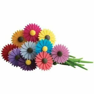 Trudeau Floral Daisy Flowers Silicone Wine Charms Drink Glass Markers 12 Pieces