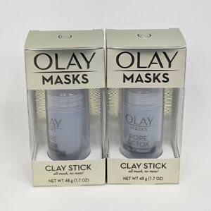 Olay Pore Detox Clay Stick Mask Black Charcoal Facial Cleanser Lot of 2