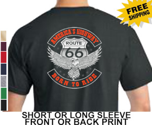 Biker Route 66 Americas Highway Classic Motorcycle Born To Ride Men's T Shirt