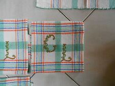 6 Antique French Cotton Towels - Hand floral Monogrammed G L