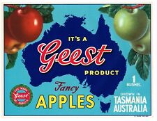 APPLE CRATE LABEL VINTAGE AUSTRALIA TASMANIA 1950S ORIGINAL GEEST MAP AUSSIE