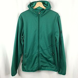 Mammut Go Far Hooded Jacket Mens Large Green Stretch Soft Shell Fleece Lined