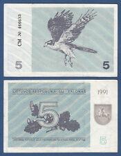 LITAUEN / LITHUANIA 5 Talonas 1991 aUNC  P.34 b