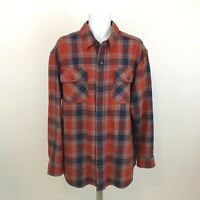 Duluth Trading Heavy Flannel Shirt Mens Size L Button Up Red Plaid Long Sleeve