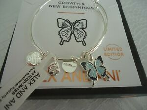 Alex and Ani BLUE SWALLOWTAIL BUTTERFLY Shiny Silver Bangle New W/Tag Card & Box