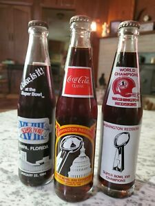 3 Vintage Washington Redskins Coca Cola Bottles 83 84 88 Super Bowl Champions