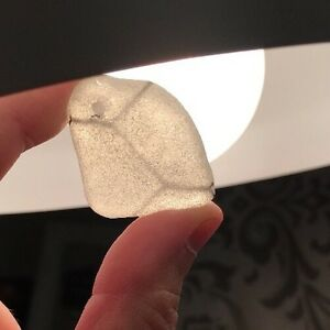 Authentic White Sea Glass with Chicken Wire Top Drilled Pendant Thick Large #66