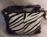 Coach Zebra Print Pony Hair Brown Off White Suede Leather Shoulder Bag 8A65