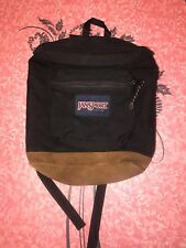 JANSPORT ~ VTG Black Book Bag Backpack School Suede Leather Bottom Small USA