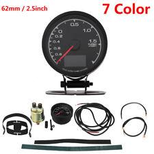 62mm LCD Digital 7 Color Display Boost Turbo Gauge Vacuum Gauge w/ Sensor Holder