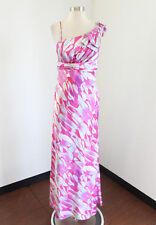 Pink Abstract Print Ruffle Evening Dress Formal Prom Gown Size M Maria Bonita