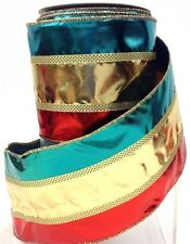 """Metalic Tri-Color Wired Edge Ribbon.  Green, Gold, Red. 4"""" W x 10yd,"""