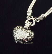 "NEW Lia Sophia ""Love Dust"" Cut Crystal Heart Pendant Necklace"