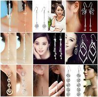 1 Pair Long Tassel Chain Gold/Silver Plated Ear lines Dangle Earrings Hook JT12