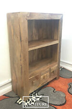 Solid Light Mango Wood Small Low Bookcase Display Unit | Dakota Range