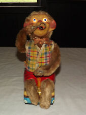 VINTAGE OLD TOY 1950S JAPAN TIN LITHO MONKEY BLOWING BUBBLES