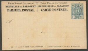 Parguay 1884 3c blue postal card unused HG #8