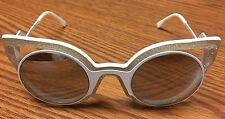 Fendi FF 0137/S NU6SS Paradeyes Sunglasses Matte White Glitter Grey Mirrored NEW