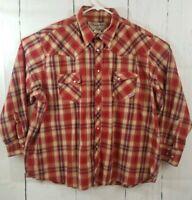 Wrangler Wrancher Men's 3X Big Western Shirt Pearl Snap Red Plaid L/S EUC