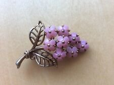 Vintage CROWN TRIFARI Pink Molded Poured Glass Flowers Leaf Leaves BROOCH PIN