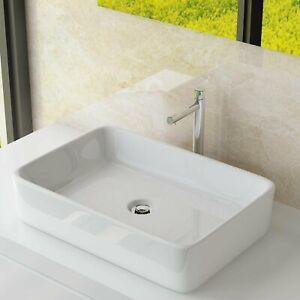 Aufsatzwaschbecken Keramik Waschschale Handwaschbecken Eckig 60x34x11cm WS97