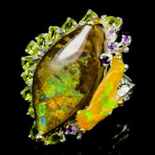 Lover Gift Ring Natural Ammolite 925 Sterling Silver Ring Size 8.5/R90612