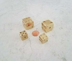 Solid Brass Dice.  Two Pairs.