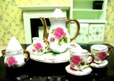 Dollhouse Miniature Porcelain Coffee Tea Set Teapot Cup Plate Dish Kitchen Decor