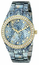 Guess Women's Blue Python Print and Gold Tone Sport 40mm Watch w/ Crystals